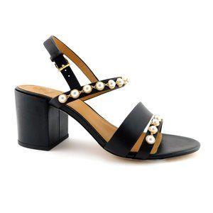 New TORY BURCH Black & Pearl Block Heel Sandals 10